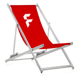 Aluminium deck chair without armrests, system incl. print