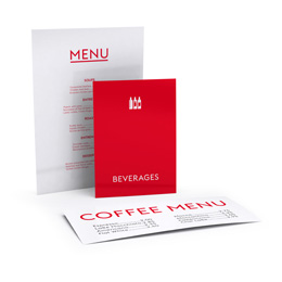 Menu cards, standard sizes