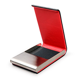 Leather covered 'Red Pepper' business card cases