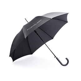 Umbrella with curved plastic handle