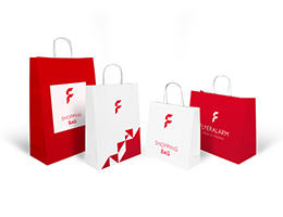Fully printable basic paper bags with twisted cord handle