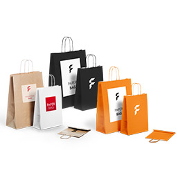Basic paper bag with twisted cord handle