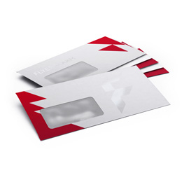 Envelopes with partial UV varnish and window