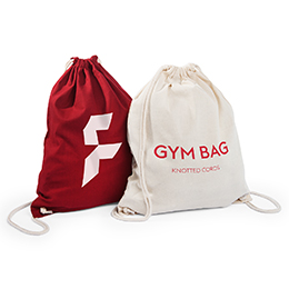 Gym bag with knotted cord